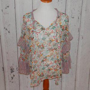 ANA Women's Large Boho Flare Sleeve Blouse Shirt